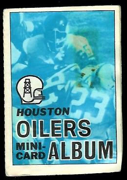 Houston Oilers 1969 Topps Mini-Card Albums football card