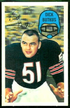 Dick Butkus 1970 Kelloggs football card