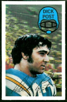 Dick Post 1970 Kelloggs football card