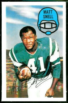 Matt Snell 1970 Kelloggs football card