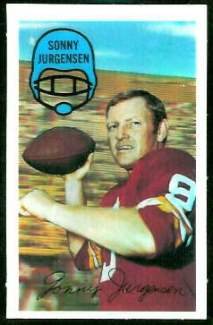 Sonny Jurgensen 1970 Kelloggs football card