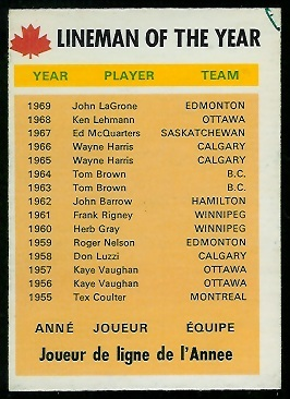 Lineman of the Year 1970 O-Pee-Chee CFL football card