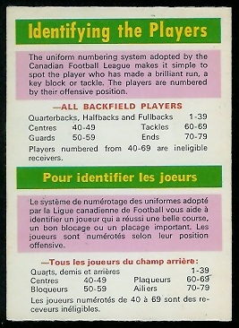 Identifying the Players 1970 O-Pee-Chee CFL football card