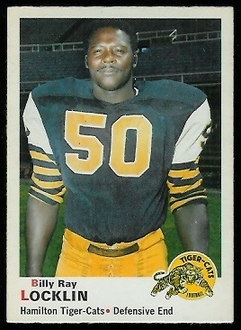 Billy Ray Locklin 1970 O-Pee-Chee CFL football card