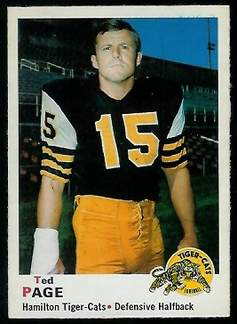 Ted Page 1970 O-Pee-Chee CFL football card