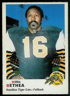 Willie Bethea 1970 O-Pee-Chee CFL football card