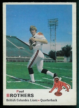 Paul Brothers 1970 O-Pee-Chee CFL football card