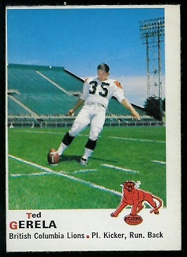 Ted Gerela 1970 O-Pee-Chee CFL football card