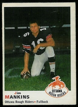 Jim Mankins 1970 O-Pee-Chee CFL football card