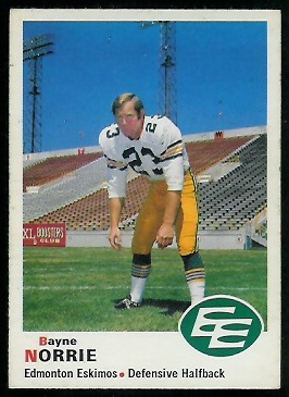 Bayne Norrie 1970 O-Pee-Chee CFL football card