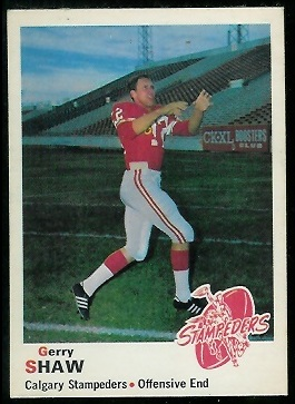 Gerry Shaw 1970 O-Pee-Chee CFL football card