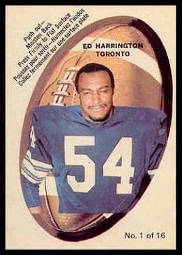 Ed Harrington 1970 O-Pee-Chee Stickers football card