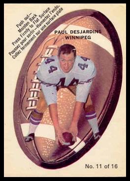 Paul Desjardins 1970 O-Pee-Chee Stickers football card