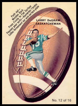 Larry DeGraw 1970 O-Pee-Chee Stickers football card