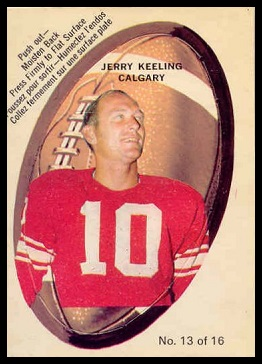 Jerry Keeling 1970 O-Pee-Chee Stickers football card