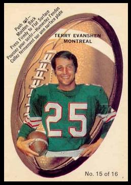 Terry Evanshen 1970 O-Pee-Chee Stickers football card
