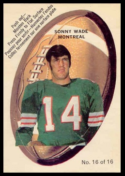 Sonny Wade 1970 O-Pee-Chee Stickers football card