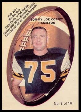 Tommy Joe Coffey 1970 O-Pee-Chee Stickers football card