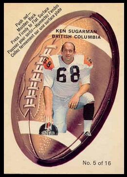 Ken Sugarman 1970 O-Pee-Chee Stickers football card