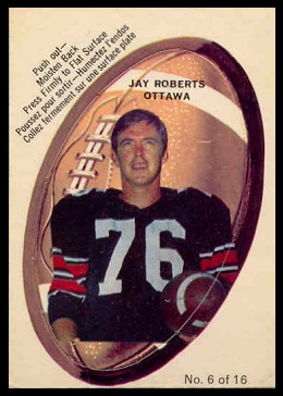 Jay Roberts 1970 O-Pee-Chee Stickers football card