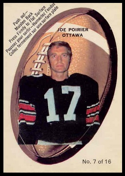 Joe Poirier 1970 O-Pee-Chee Stickers football card