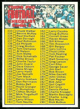 Checklist 133-263 1970 Topps football card