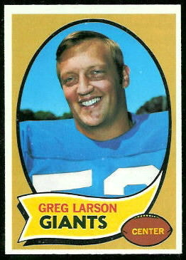 Greg Larson 1970 Topps football card
