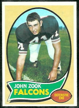 John Zook 1970 Topps football card