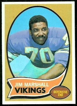 Jim Marshall 1970 Topps football card