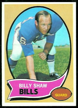 Billy Shaw 1970 Topps football card