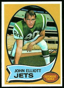 John Elliott 1970 Topps football card