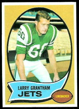 Larry Grantham 1970 Topps football card