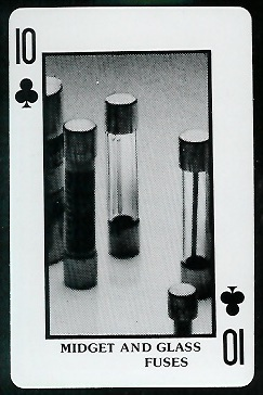 Midget and Glass Fuses 1970s Littelfuse Playing Cards football card