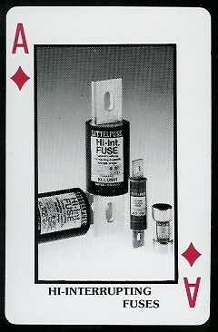 Hi-Interrupting Fuses 1970s Littelfuse Playing Cards football card