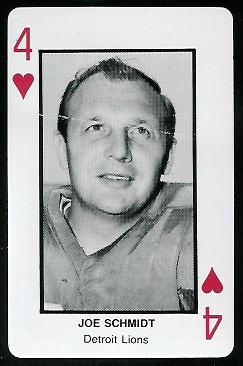 Joe Schmidt 1970s Littelfuse Playing Cards football card