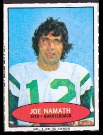Joe Namath 1971 Bazooka football card