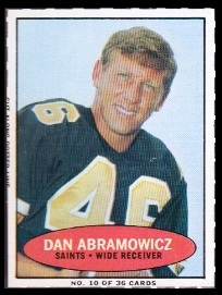 Dan Abramowicz 1971 Bazooka football card
