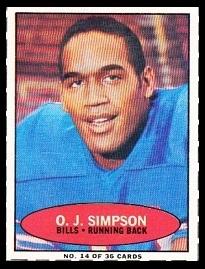 Oj Simpson 1971 Bazooka 14 Vintage Football Card Gallery
