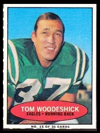 Tom Woodeshick 1971 Bazooka football card