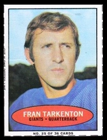 Fran Tarkenton 1971 Bazooka football card