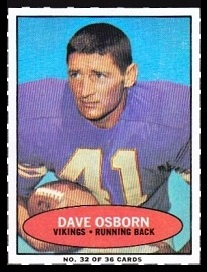 Dave Osborn 1971 Bazooka football card