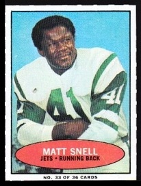 Matt Snell 1971 Bazooka football card