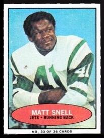 Matt Snell 1971 Bazooka football card