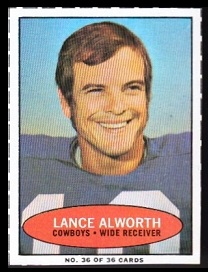 Lance Alworth 1971 Bazooka football card