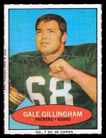 Gale Gillingham 1971 Bazooka football card