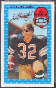Tom Barrington 1971 Kelloggs football card