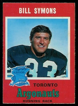 Bill Symons 1971 O-Pee-Chee CFL football card