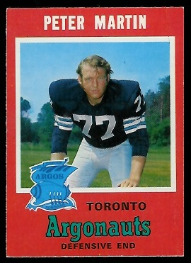 Peter Martin 1971 O-Pee-Chee CFL football card
