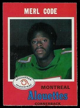 Merl Code 1971 O-Pee-Chee CFL football card
