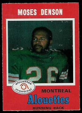 Moses Denson 1971 O-Pee-Chee CFL football card